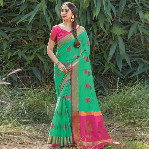 Glowing Turquoise Green Colored Festive Wear Woven Cotton Handloom Saree