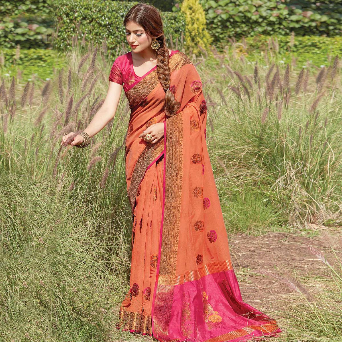 Exceptional Rust Colored Festive Wear Woven Cotton Handloom Saree