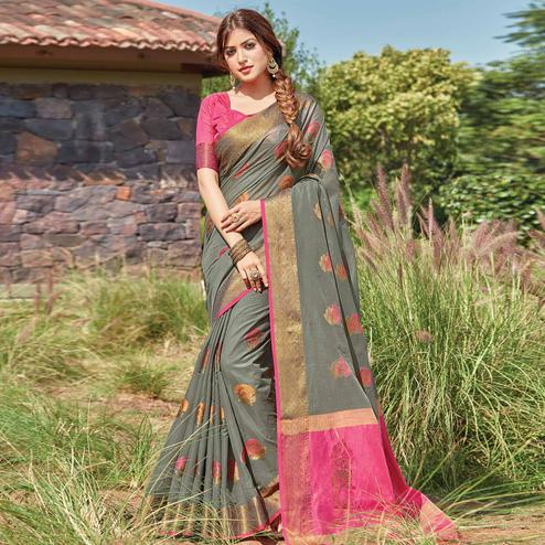 Gleaming Grey Colored Festive Wear Woven Cotton Handloom Saree
