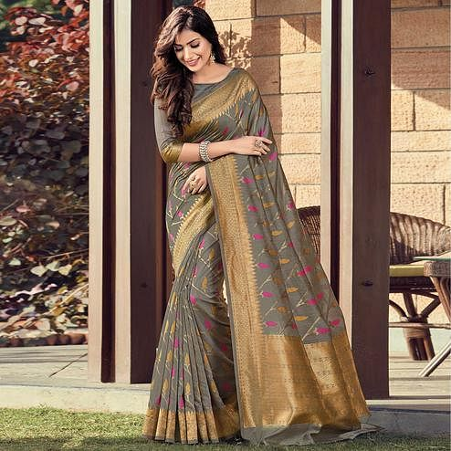 Desirable Grey Colored Festive Wear Woven Cotton Handloom Saree
