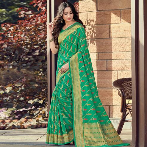 Exotic Green Colored Festive Wear Woven Cotton Handloom Saree