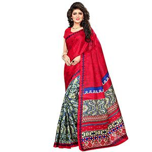 Red Festive Wear Printed Khadi Jute Silk Saree