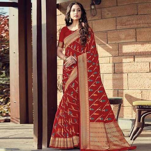 Radiant Red Colored Festive Wear Woven Cotton Handloom Saree