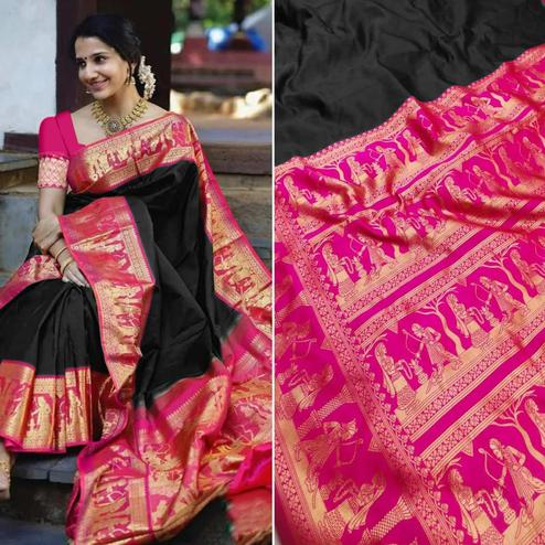 Opulent Black Colored Festive Wear Woven Pure Heavy Banarasi Silk Saree