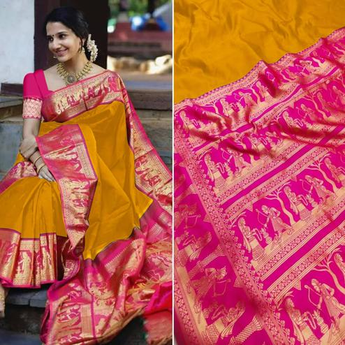 Energetic Mustard Yellow Colored Festive Wear Woven Pure Heavy Banarasi Silk Saree