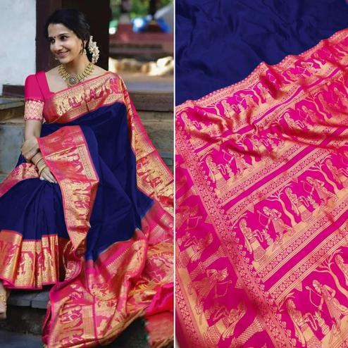 Glowing Navy Blue Colored Festive Wear Woven Pure Heavy Banarasi Silk Saree