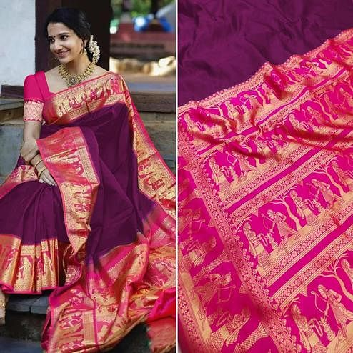 Exceptional Wine Colored Festive Wear Woven Pure Heavy Banarasi Silk Saree