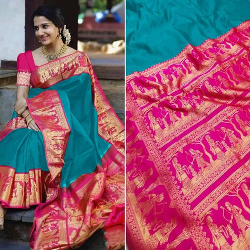Mesmeric Ferozi Colored Festive Wear Woven Pure Heavy Banarasi Silk Saree