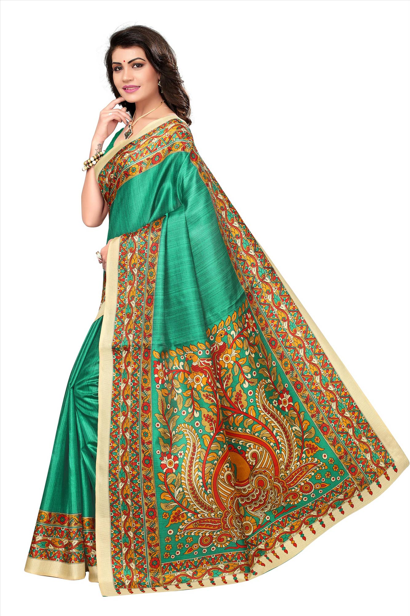 Green Festive Wear Printed Khadi Jute Silk Saree