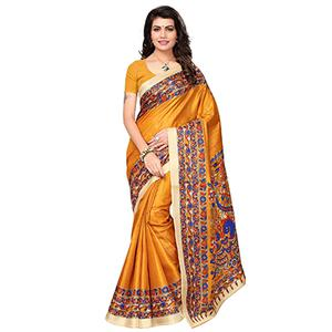 Yellow Festive Wear Printed Khadi Jute Silk Saree