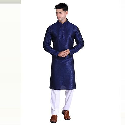 Glowing Navy Blue Colored Festive Wear Pure Art Silk Men's Kurta Pyjama Set