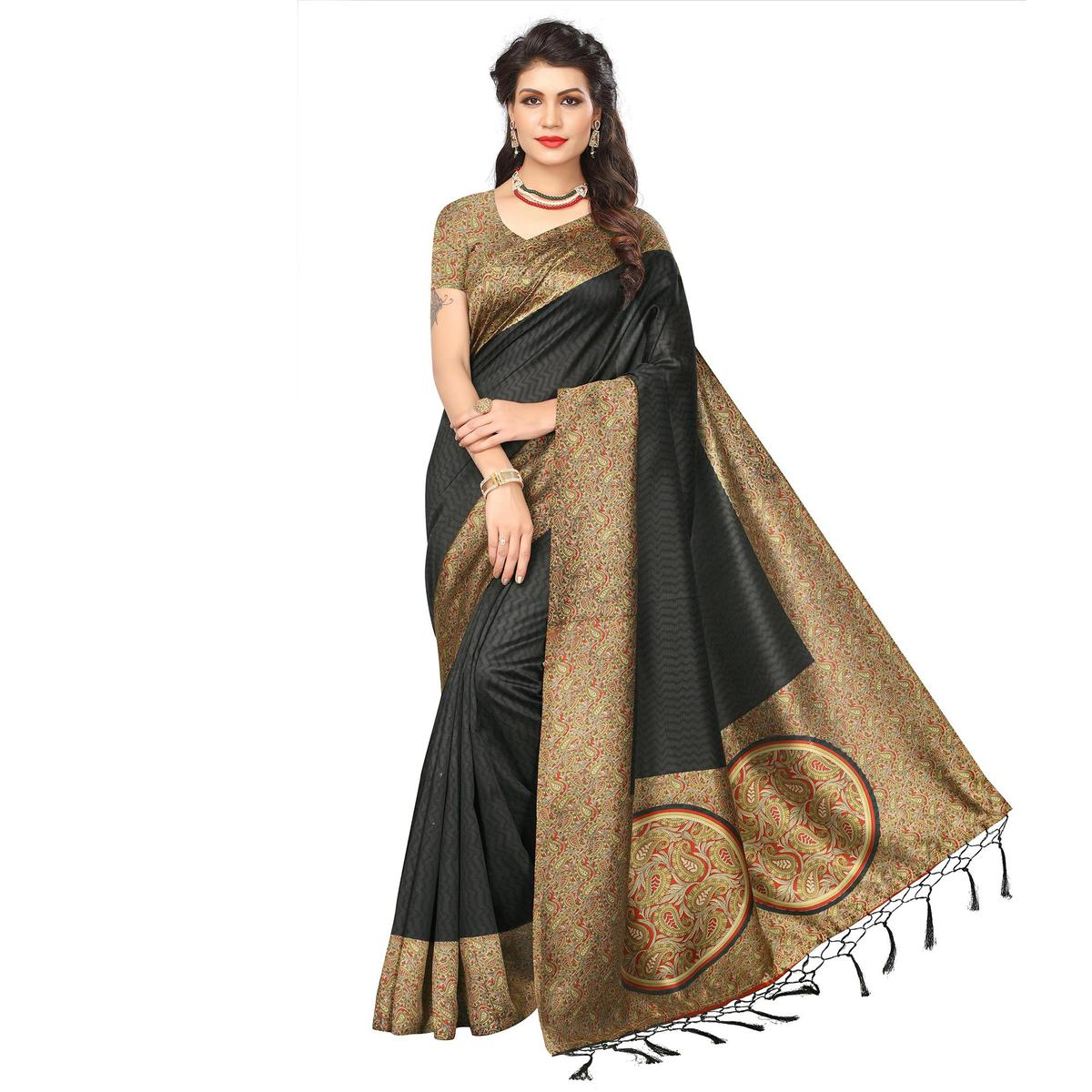 Black Festive Wear Printed Art Silk Saree