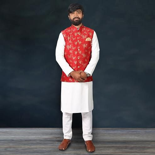 Captivating Blue - Red Colored Festive Wear Cotton Men's Kurta Pyjama Set With Modi Jacket
