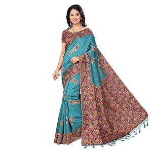 Turquoise Blue Festive Wear Printed Art Silk Saree