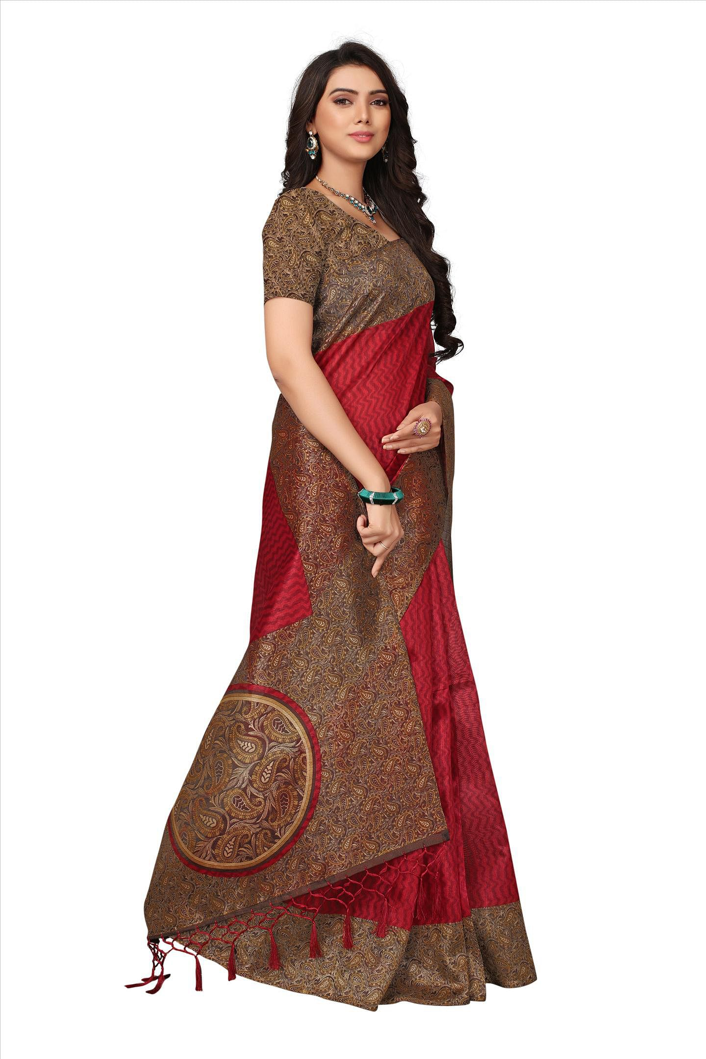 Red Festive Wear Printed Art Silk Saree