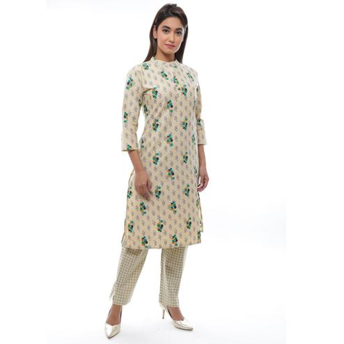 Avinda - Women's Floral Cream Cotton Kurta With Checked Pant