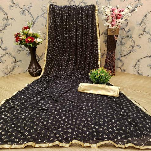 Delightful Black Colored Casual Wear Printed Lycra Blend Saree