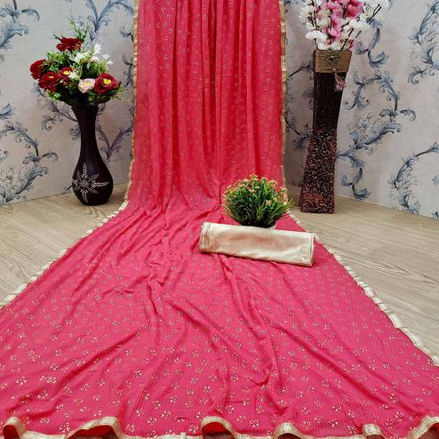 Amazing Pink Colored Casual Wear Printed Lycra Blend Saree