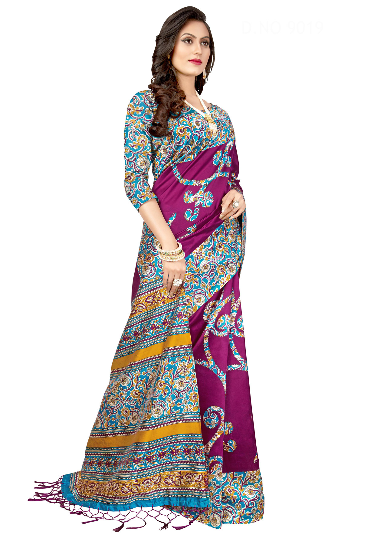 Purple Festive Wear Printed Art Silk Saree