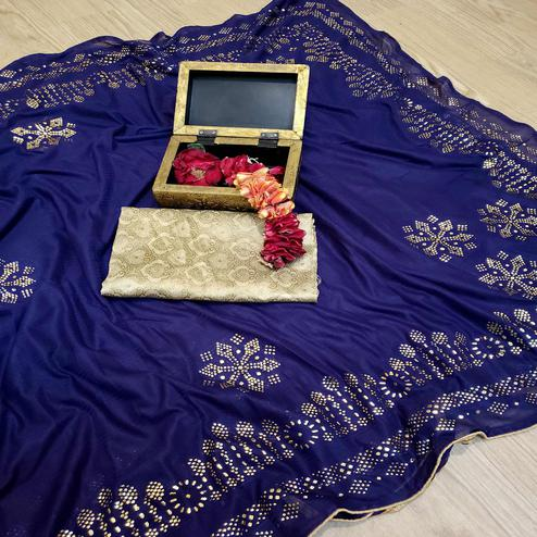 Ideal Navy Blue Colored Festive Wear Embellished Lycra Blend Saree