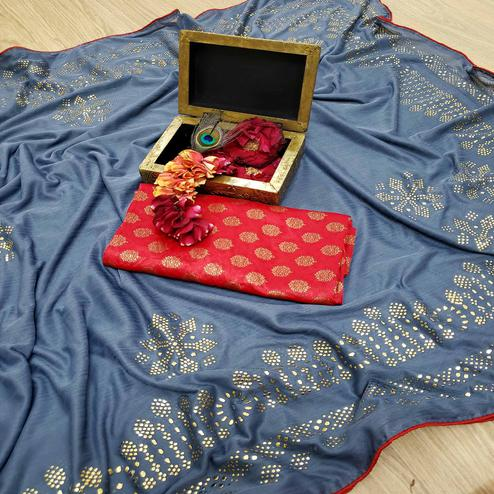 Lovely Grey Colored Festive Wear Embellished Lycra Blend Saree