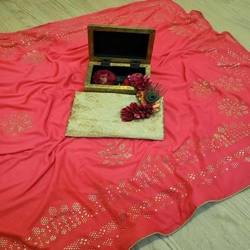 Majesty Pink Colored Festive Wear Embellished Lycra Blend Saree