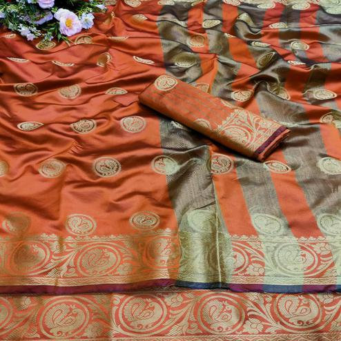 Pleasance Orange Colored Festive Wear Woven Art Silk Jacquard Saree