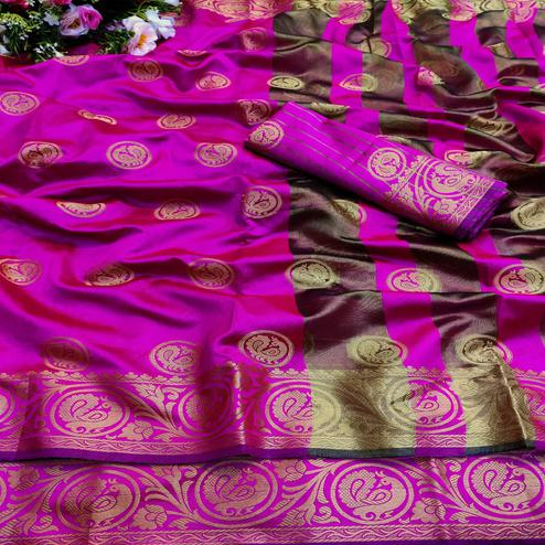 Breathtaking Pink Colored Festive Wear Woven Art Silk Jacquard Saree