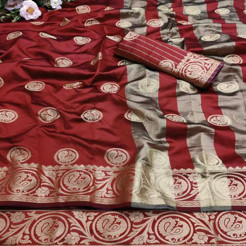 Ravishing Red Colored Festive Wear Woven Art Silk Jacquard Saree