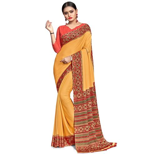 Surpassing Yellow Colored Casual Wear Printed Crepe Saree