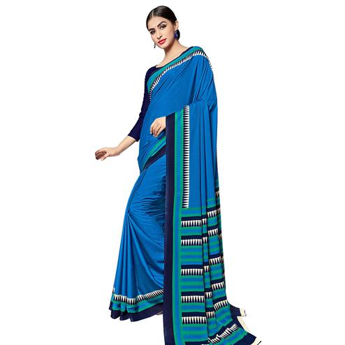 Intricate Blue Colored Casual Wear Printed Crepe Saree