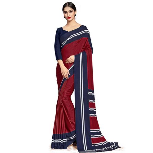 Desirable Maroon Colored Casual Wear Printed Crepe Saree