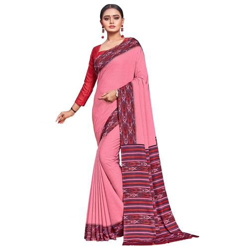 Trendy Pink Colored Casual Wear Printed Crepe Saree