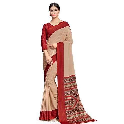 Elegant Beige Colored Casual Wear Printed Crepe Saree