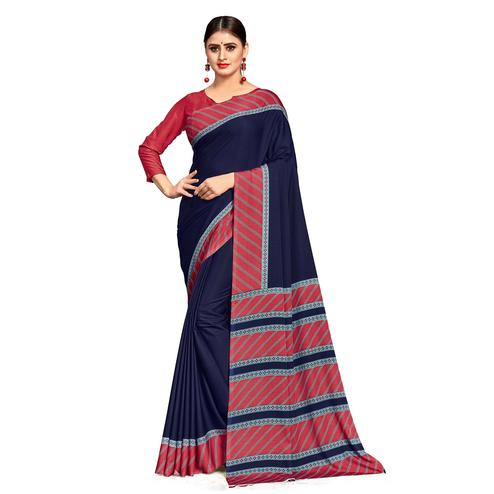 Radiant Navy Blue Colored Casual Wear Printed Crepe Saree