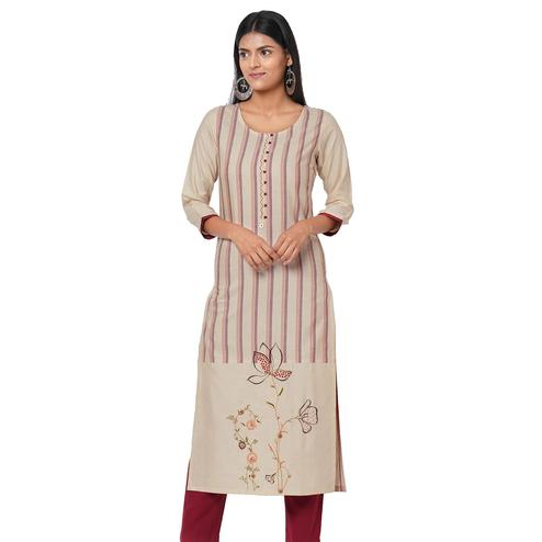 Amazing Offwhite Colored Casual Wear Embroidered Cotton Kurti