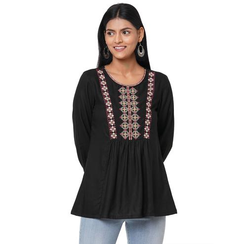 Gorgeous Black Colored Casual Wear Embroidered Rayon Kurti