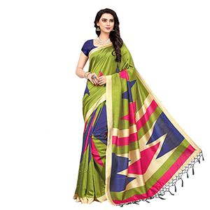 Green Printed Art Silk Saree
