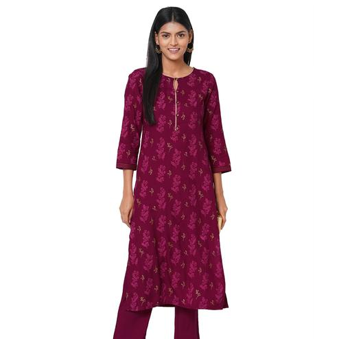 Ideal Maroon Colored Casual Wear Printed Rayon Kurti
