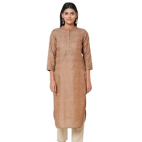 Imposing Brown Colored Casual Wear Embellished Silk Kurti