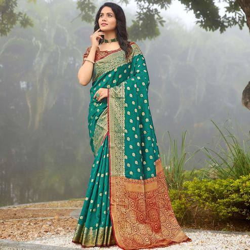 Lovely Turquoise Green Colored Designer Festive Wear Woven Silk Saree