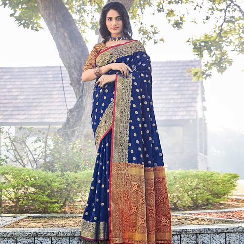 Pleasance Navy Blue Colored Designer Festive Wear Woven Silk Saree