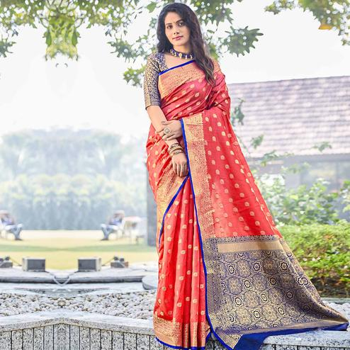 Breathtaking Dark Peach Colored Designer Festive Wear Woven Silk Saree