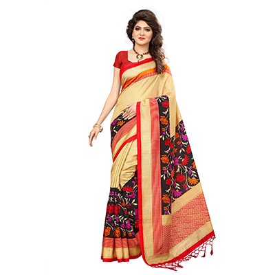 Cream Festive Wear Printed Art Silk Saree