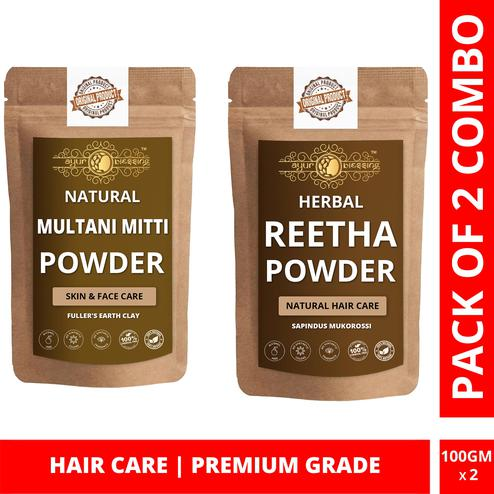 Multani Mitti and Reetha Powder Combo Pack, For Hair Care , Pack of 2 (100 Gram * 2)