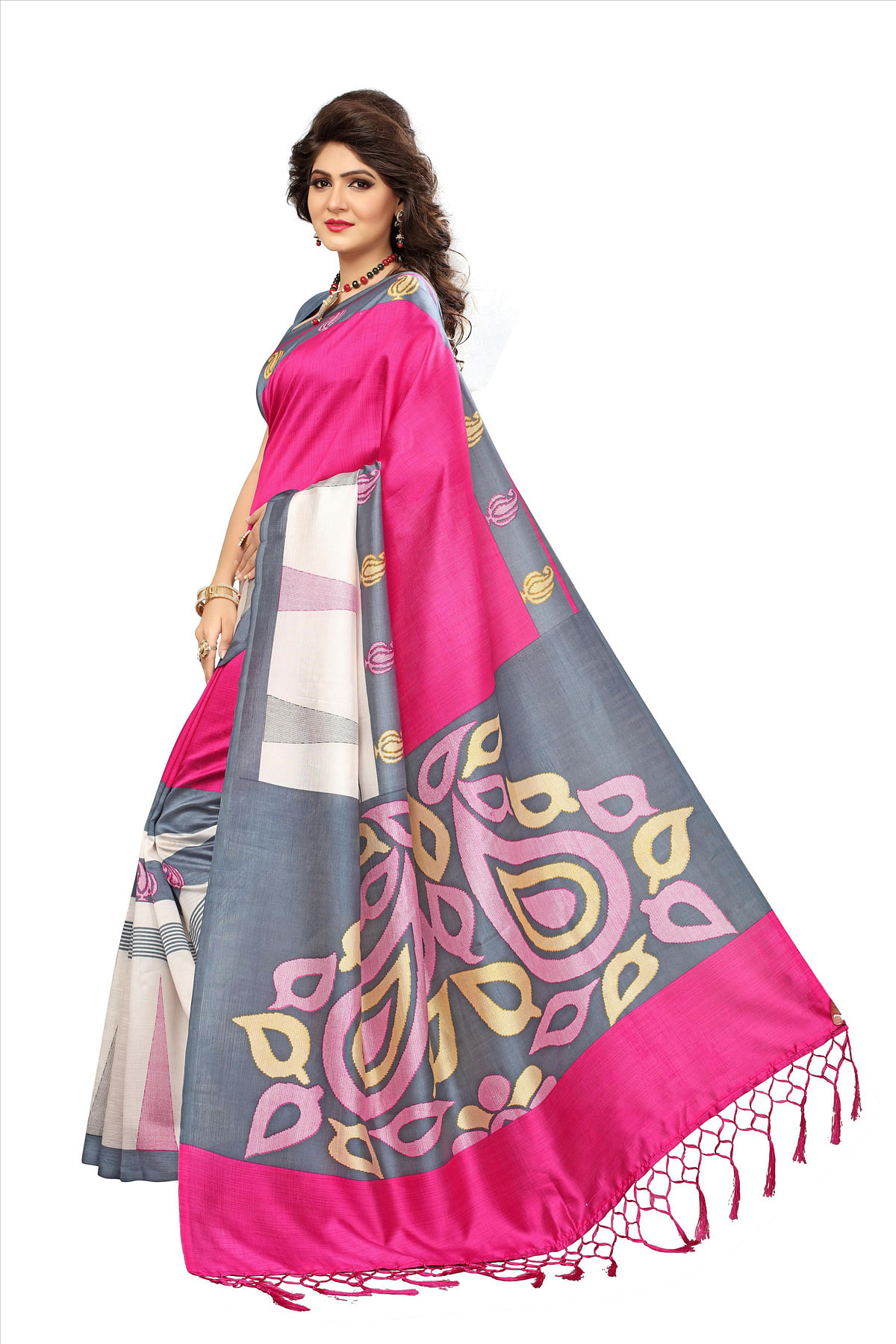 Pink Printed Art Silk Saree
