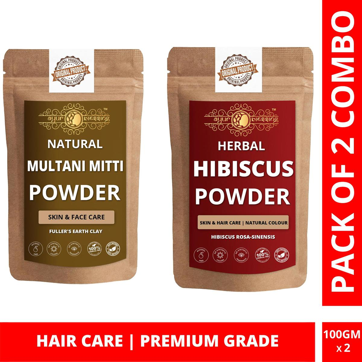 Multani Mitti and Hibiscus Powder Combo Pack, For Hair Care , Pack of 2 (100 Gram * 2)