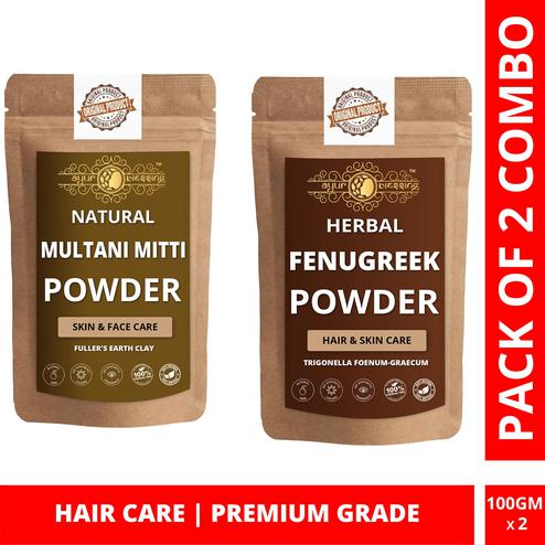 Multani Mitti and Fenugreek Powder Combo Pack, For Hair Care , Pack of 2 (100 Gram * 2)