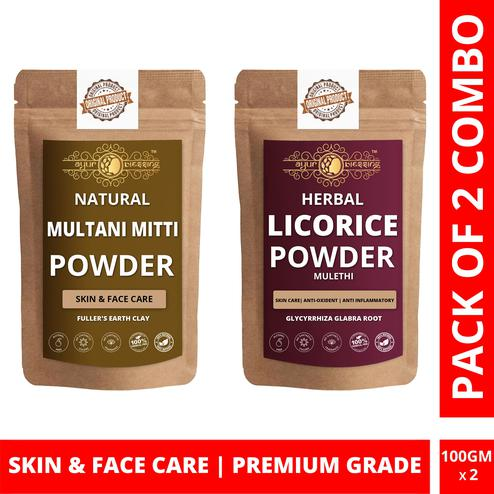 Ayur Blessing - Multani Mitti and Licorice Powder Combo Pack, For Face Pack and Skin Care , Pack of 2 (100 Gram * 2)