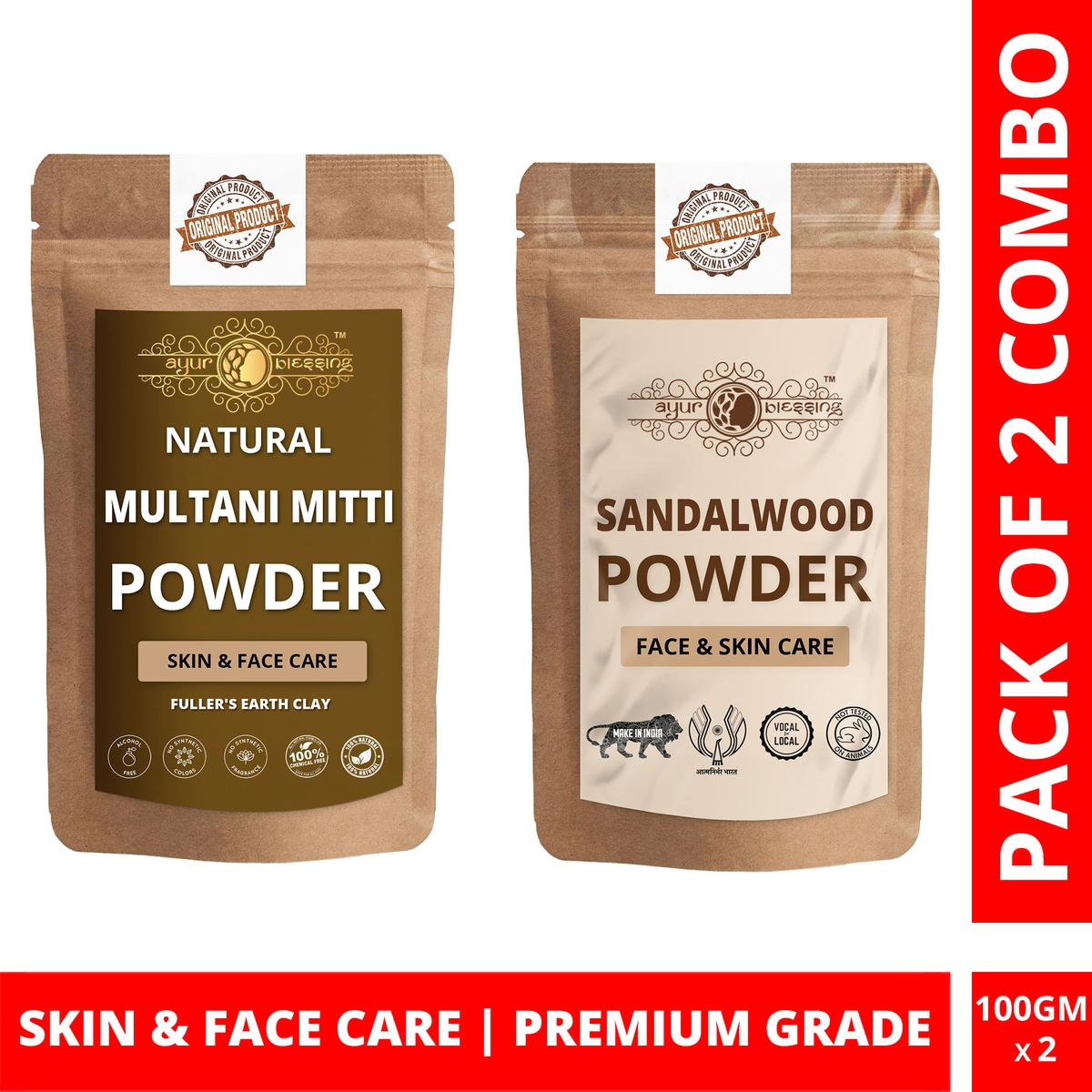 Ayur Blessing - Multani Mitti and Chandan Powder Combo Pack, For Face Pack and Skin Care , Pack of 2 (100 Gram * 2)